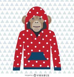 Dibujo de sudadera con capucha de lunares de mono.