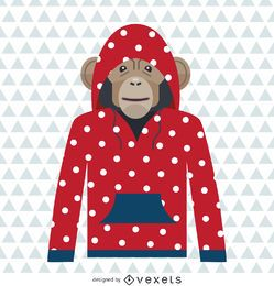 Monkey polka dot hoodie drawing