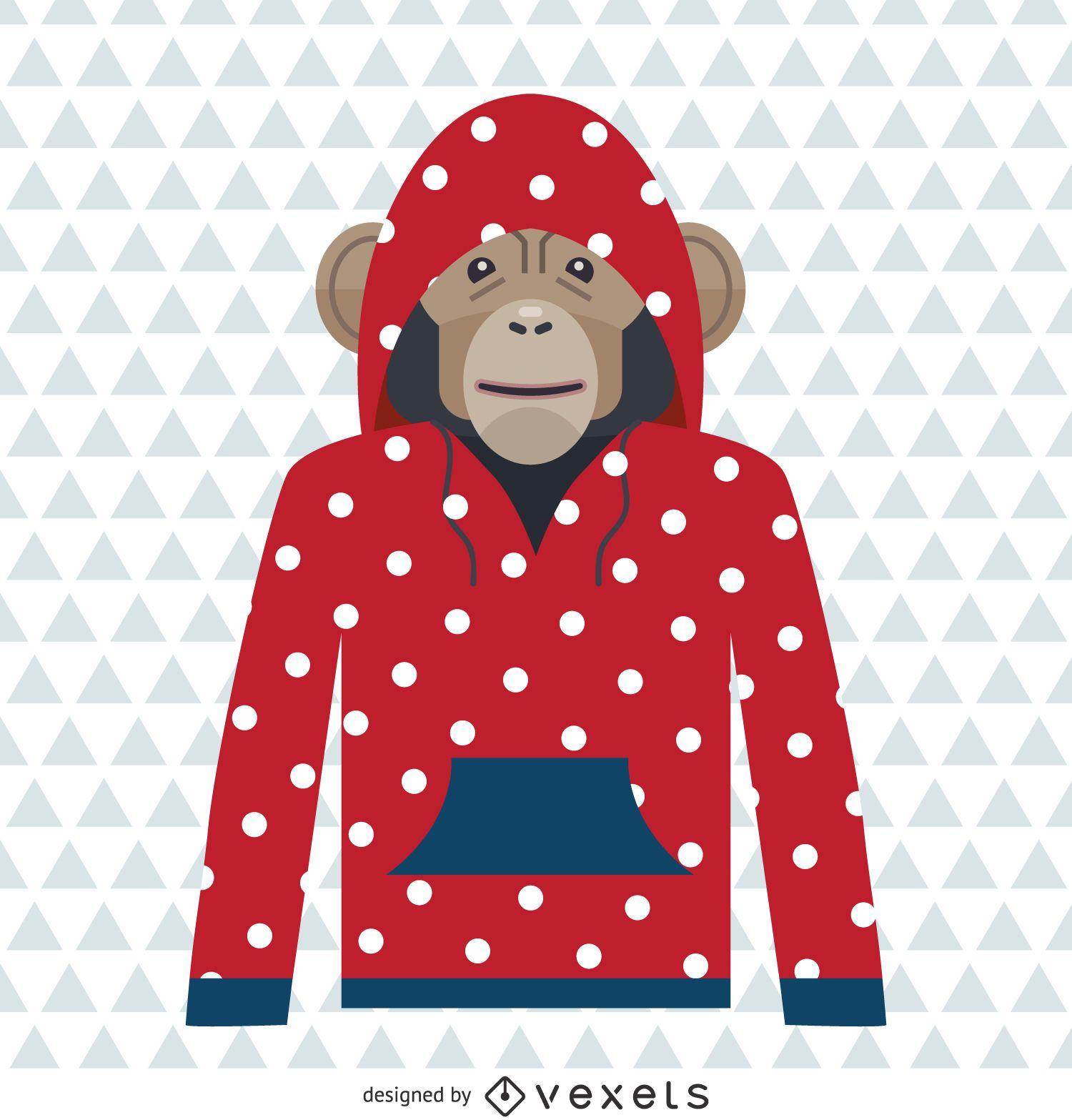 Dibujo de sudadera con capucha de lunares de mono
