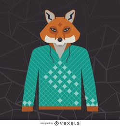 Illustrated fox hoodie