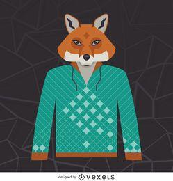 Illustrierter Fuchs Hoodie