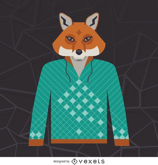 Illustrated fox hoodie