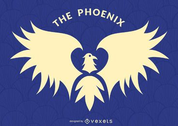 Phoenix bird label logo template