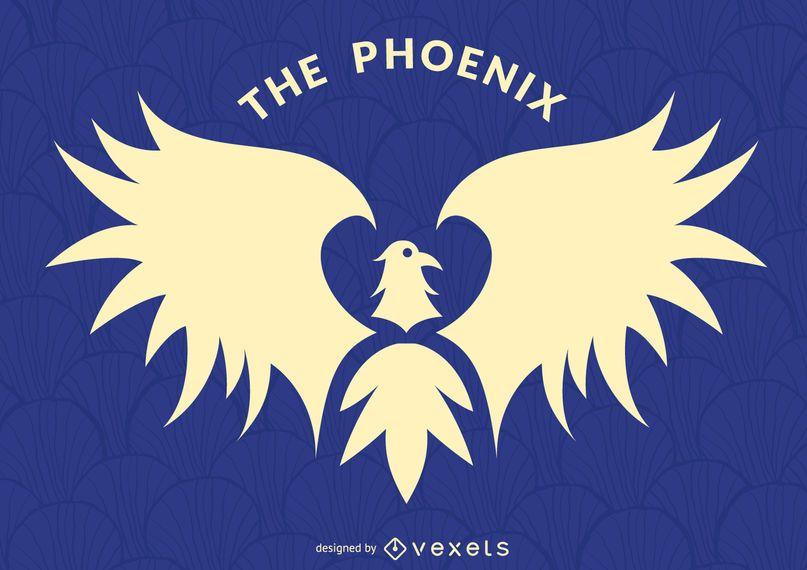 Phoenix bird label logo template