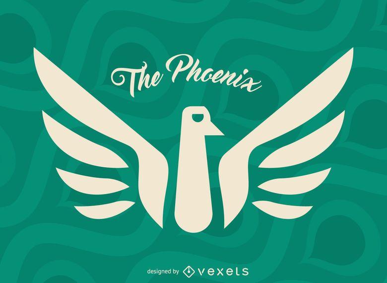 Etiqueta del pájaro del mito de Phoenix