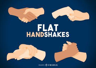 Flacher Handshake-Zeichensatz