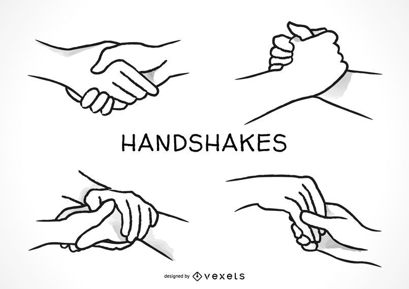 Hand drawn handshakes set