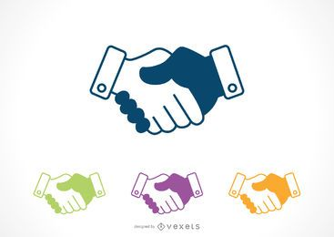 Shaking hands icon set