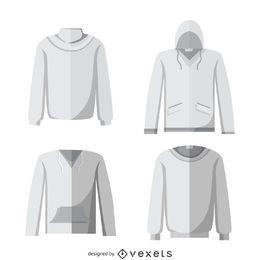 Blank hoodie mockup set