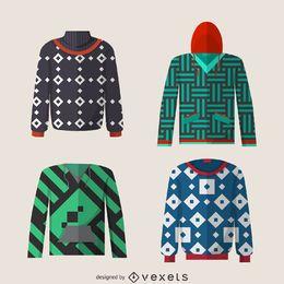 Flat hoodie designs set