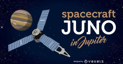 La nave espacial Juno llega a la ilustración de Júpiter.