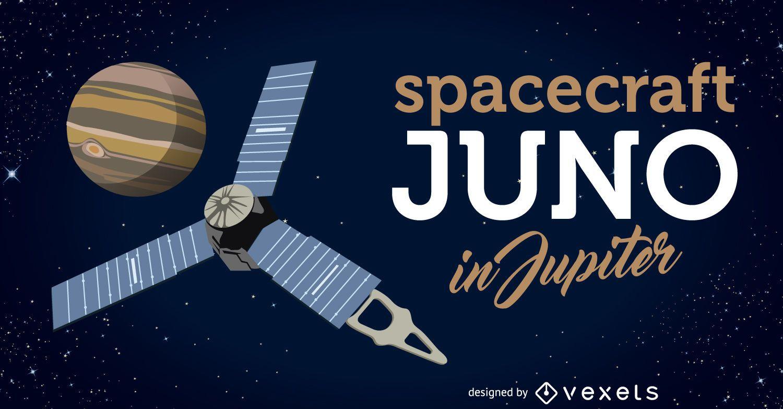 La nave espacial Juno llega a la ilustración de Júpiter
