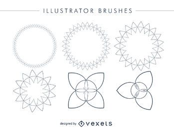 Abstract Illustrator brushes frame set