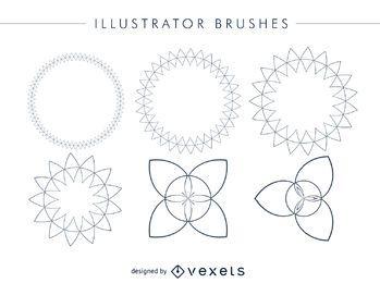 Conjunto de quadros de pincéis do ilustrador abstrato