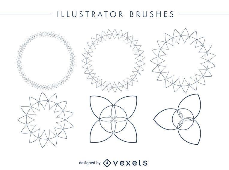 Abstrakter Illustrator bürstet Rahmensatz