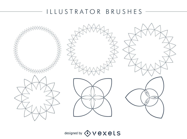 Abstract Illustrator brushes frame set