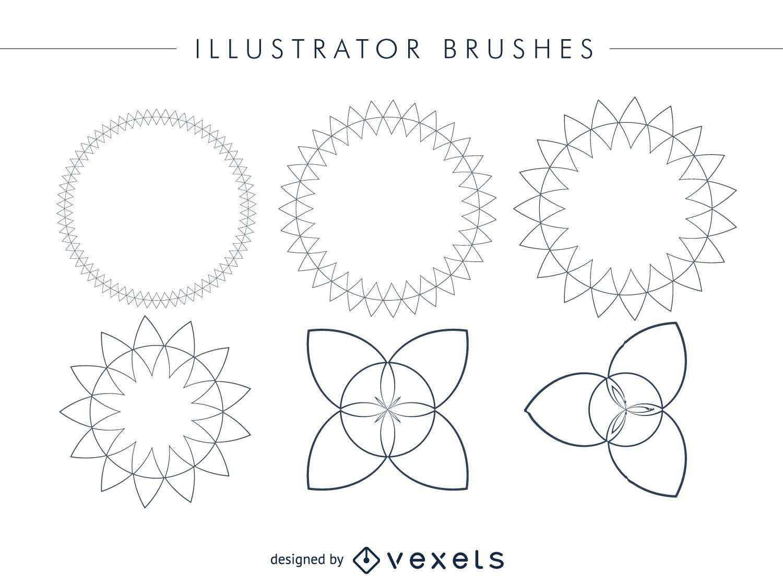 Conjunto de cuadros de pinceles de Illustrator abstracto