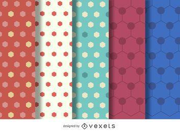 Conjunto de patrones poligonales hexagonales