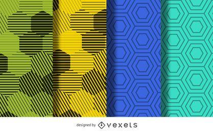 Conjunto de plano de fundo padrão hexágono