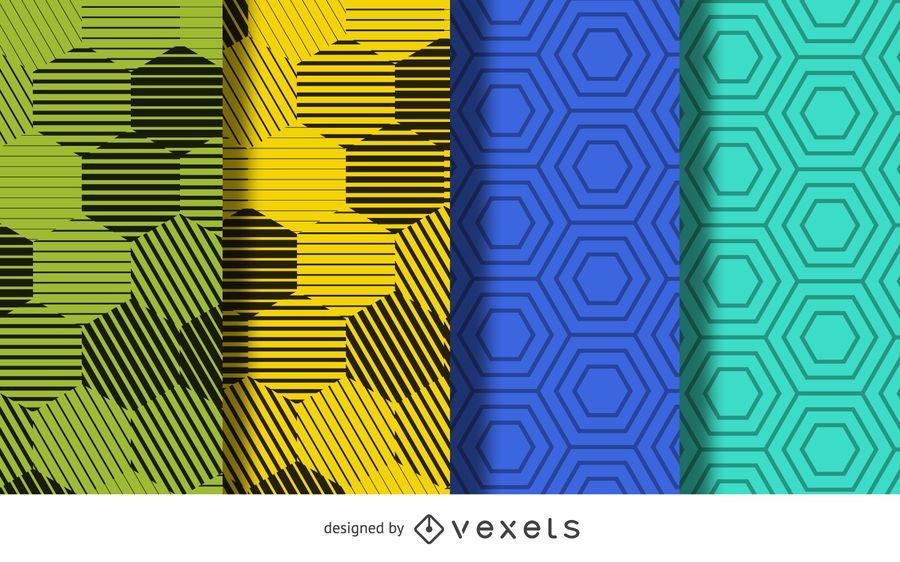 Hexagon pattern background set