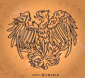 Pássaro de Fênix desenhada de mão