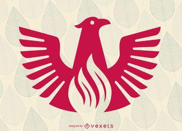 Modelo de logotipo de ave plana Fênix