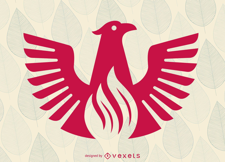 Plantilla de logotipo de pájaro fénix plano