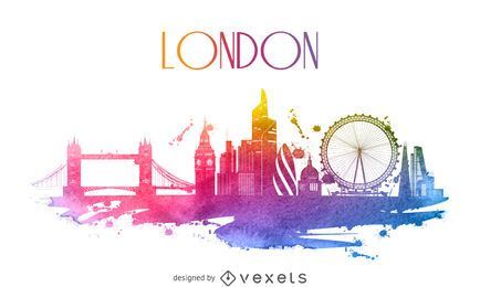 London Aquarell Skyline Silhouette