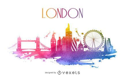Londres silhueta skyline aguarela