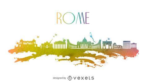 Aquarela horizonte de Roma