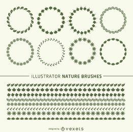 Frames de pincéis da natureza do Illustrator