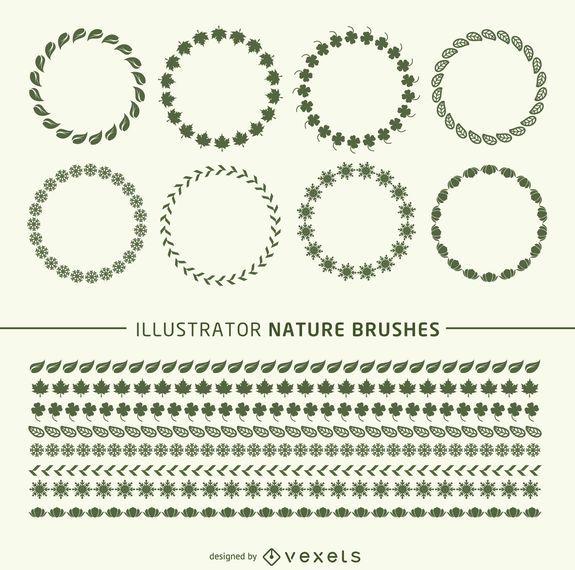 Illustrator naturaleza pinceles marcos