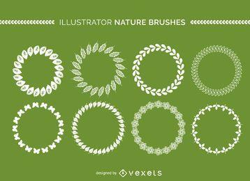 Colección de cepillos de naturaleza illustrator.