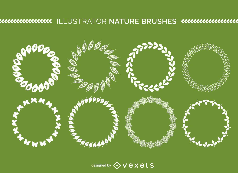 Colección de pinceles de naturaleza de Illustrator