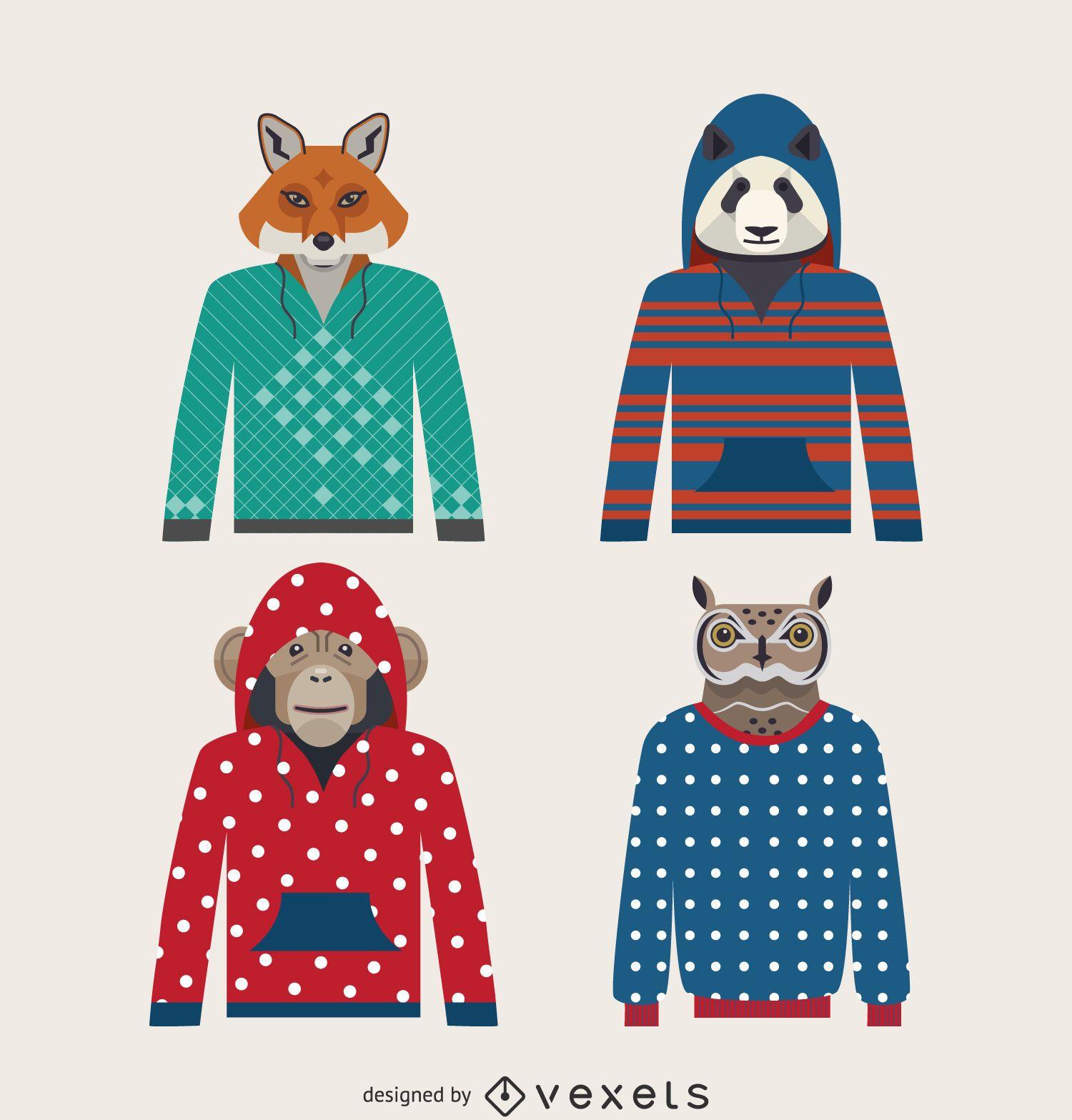 Illustrated animal hoodie set