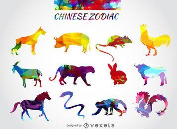 Conjunto de animais do Zodíaco Chinês