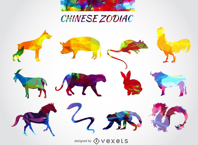 Conjunto de animales del zodiaco chino