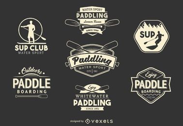 Paddling sport label set