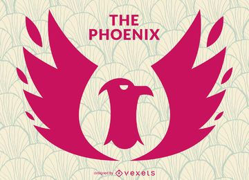 Phoenix bird stamp logo template