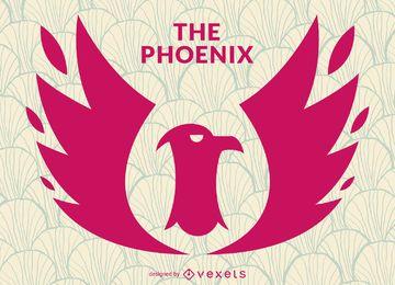 Plantilla de logotipo de sello de pájaro fénix