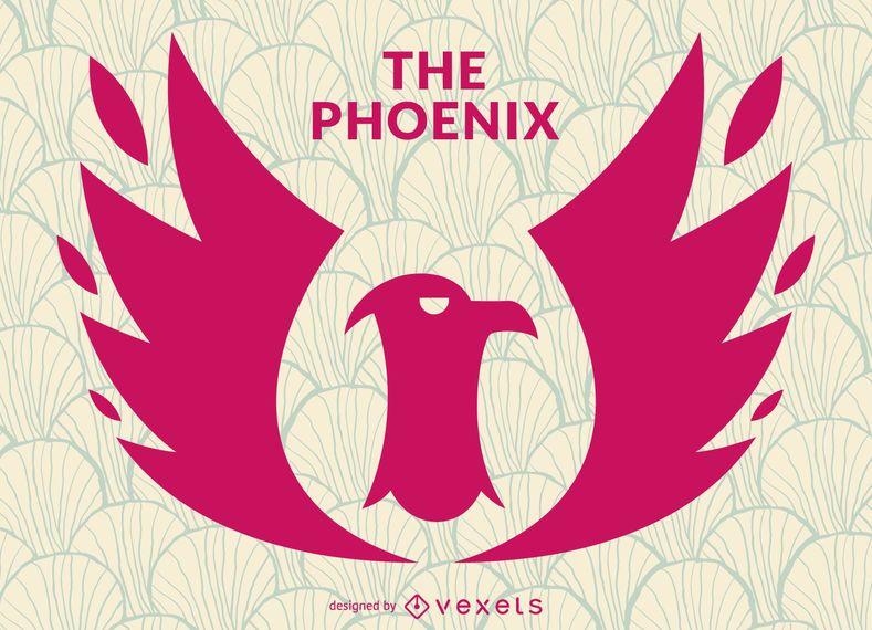 Phoenix bird stamp logo template