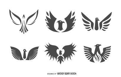 Conjunto de logotipo de pássaro fênix plana