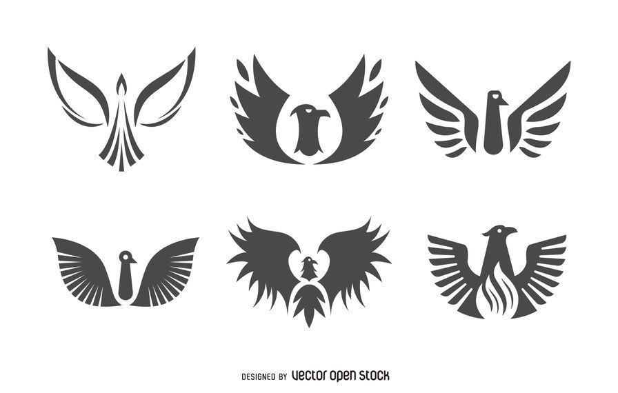 Flat phoenix bird logo set