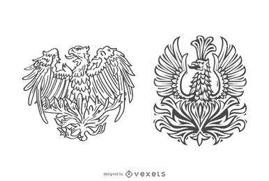 Conjunto de ave fênix de mão desenhada