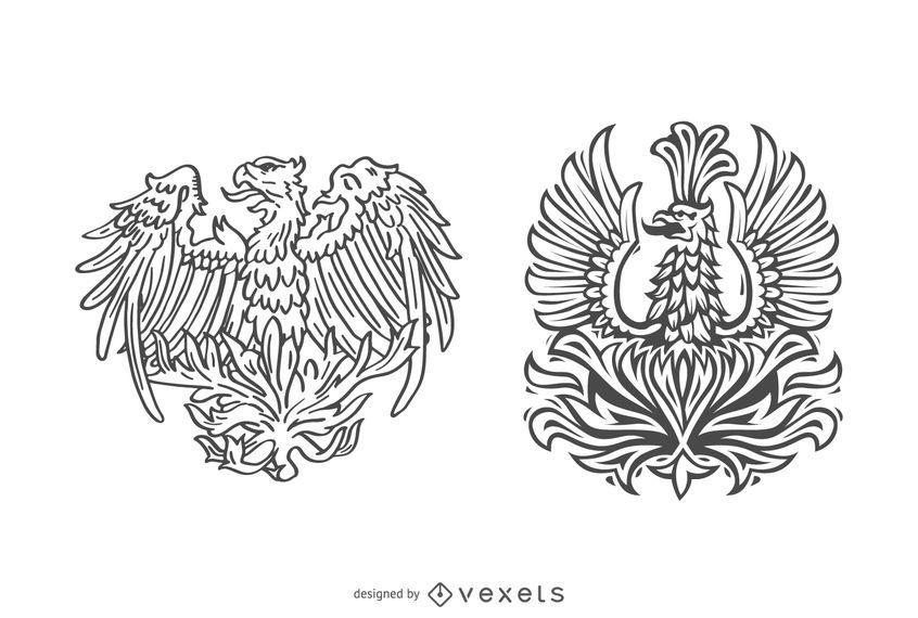 Hand drawn phoenix bird set