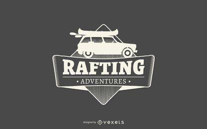 Rafting adventures etiqueta logo plantilla