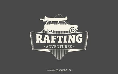 Rafting adventures label logo template