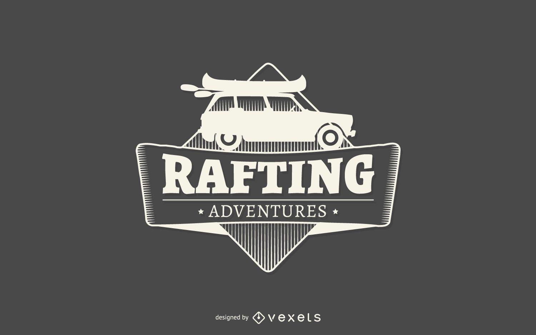 Plantilla de logotipo de etiqueta de aventuras de rafting