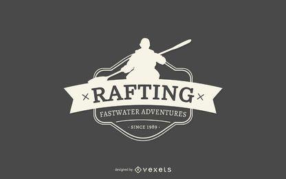 Modelo de logotipo de silhueta de rafting