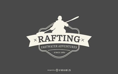 Rafting silhouette logo template